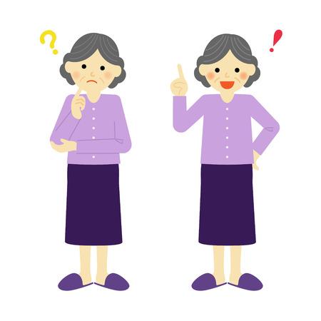 思考の年配の女性