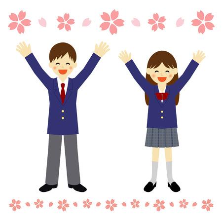 uniforme escolar: feliz estudiante Vectores