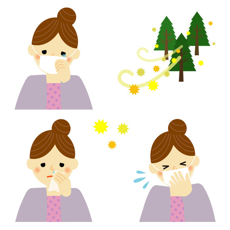 rhinitis: woman suffering from pollen allergy Illustration