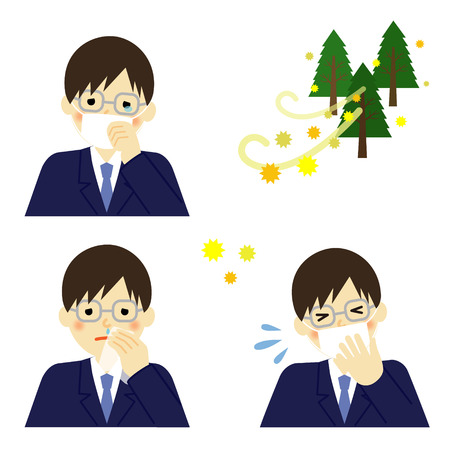 teary: Business man suffering from pollen allergy