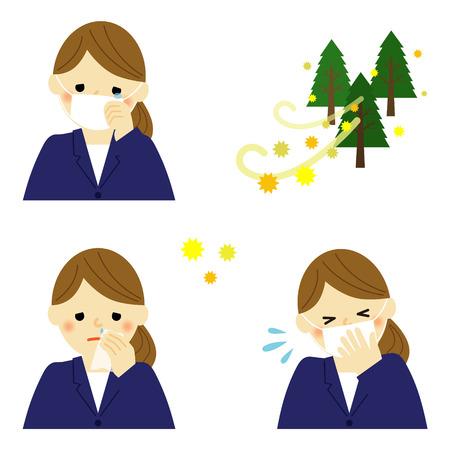 花粉症に苦しんでいる女性実業家  イラスト・ベクター素材