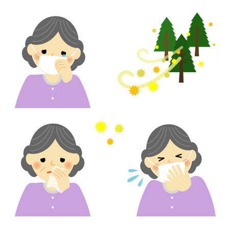 teary: Senior woman suffering from pollen allergy