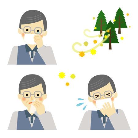 watery: Senior uomo soffre di allergia ai pollini