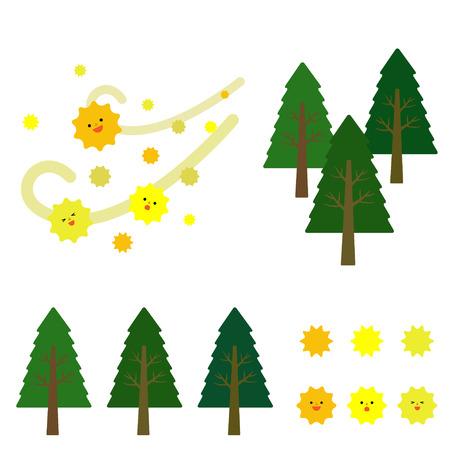 cedar: cedar pollen Illustration