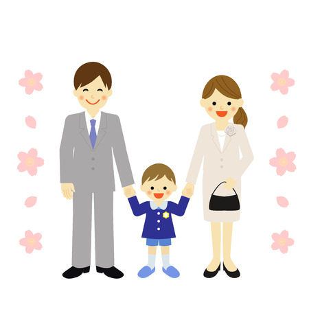happy asian family: boy with parents at preschool ceremony Illustration
