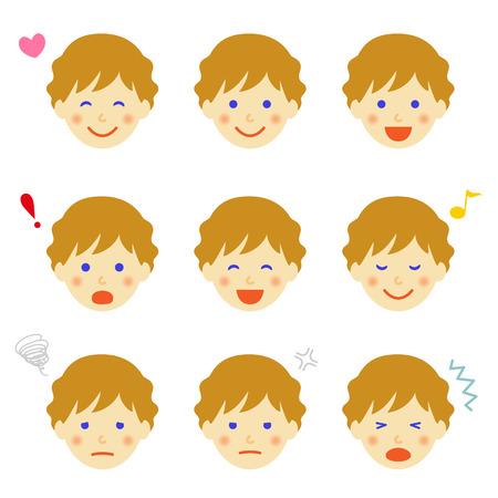Facial expressions of man Vector