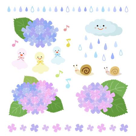 梅雨の季節要素のセット  イラスト・ベクター素材