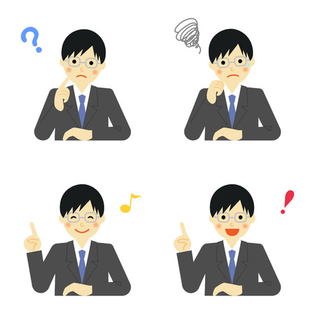 recruit suit: Facial expressions of businessman Illustration