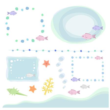 魚のセットし、海の要素手描画装飾