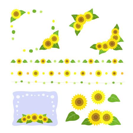 sunflower drawing: Set of sunflower hand drawing decoration Illustration