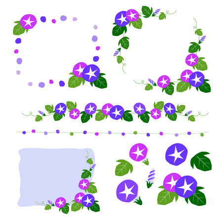 Set of morning glory hand drawing decoration