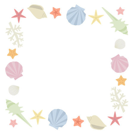 Sea shells frame Vector