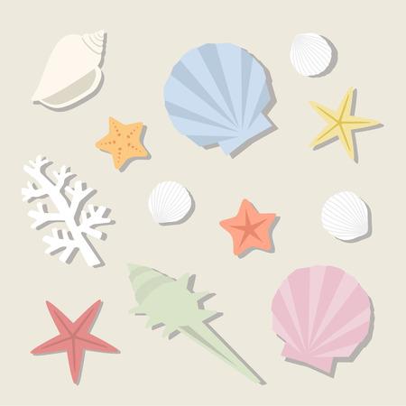 海の貝のセット  イラスト・ベクター素材