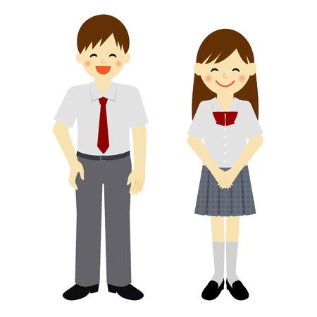 夏制服男子校生と女子高生