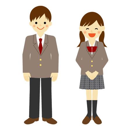 学校の制服を着た少年と女子高生  イラスト・ベクター素材