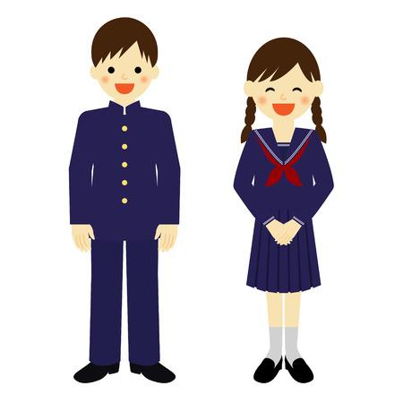 제복을 입은 학교 소년 및 학교 여자