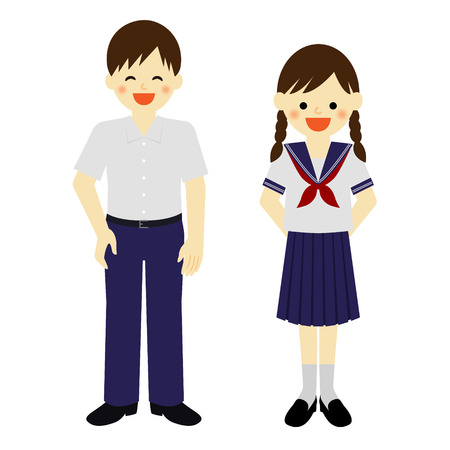 junior: Summer uniformed school boy and school girl Illustration