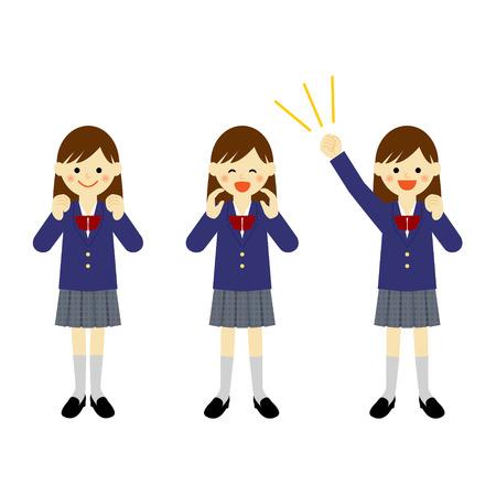 学校女の子ベクター EPS 10 図を応援