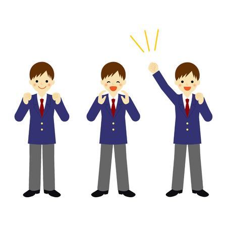 学校の男の子とベクター EPS 10 図を応援