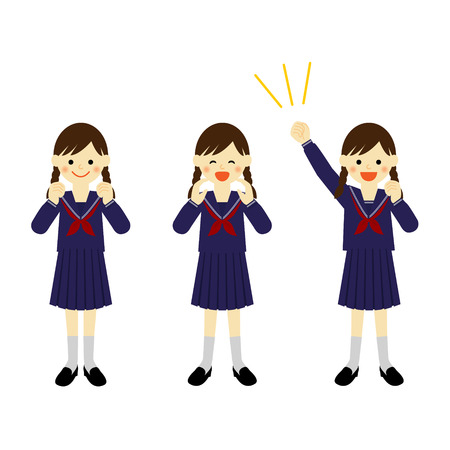 Cheering school girl  Vector EPS 10 illustration