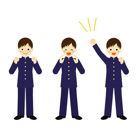 cheer: Cheering school boy and Vector EPS 10 illustration