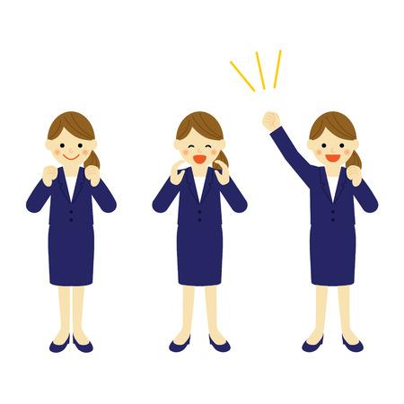 ビジネス女性ベクトル EPS 10 図を応援