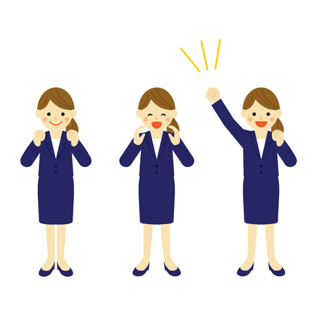 asian business people: Cheering business woman  Vector EPS 10 illustration Illustration