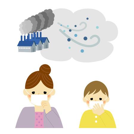 cough: Contaminación del aire, madre e hijo Vectores