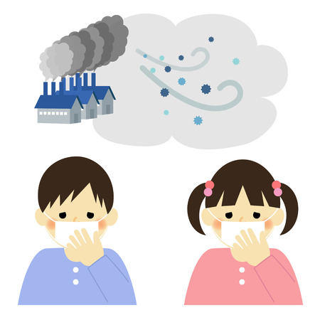 tos: Contaminación del aire, niño y niña