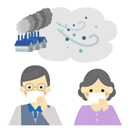 Air Pollution, senior couple 版權商用圖片 - 43203042