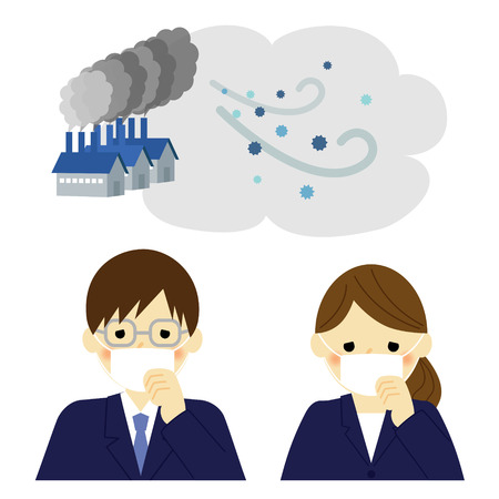 Air Pollution, businessman and businesswoman Stock Vector - 43203043