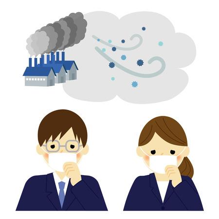 businessman cartoon: Air Pollution, businessman and businesswoman
