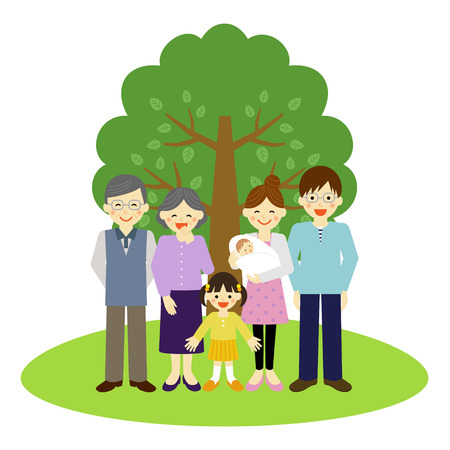 asian kid: Happy family standing in front of the tree
