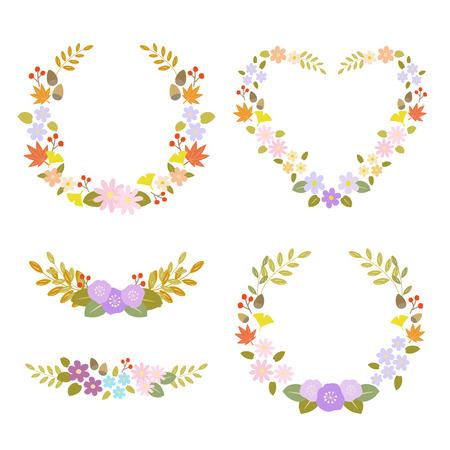 corolla: Set of autumn flower wreath Illustration
