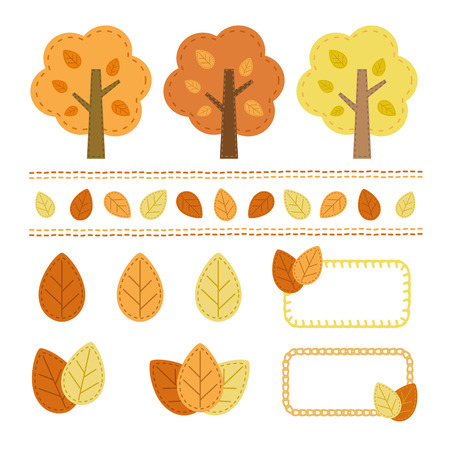 seam: Set of autumn tree element, a handicraft style