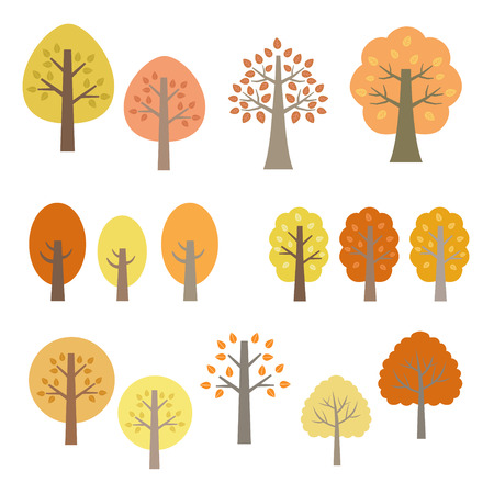 Set of autumn trees