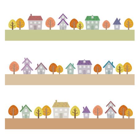 dwelling house: Autumn suburban houses