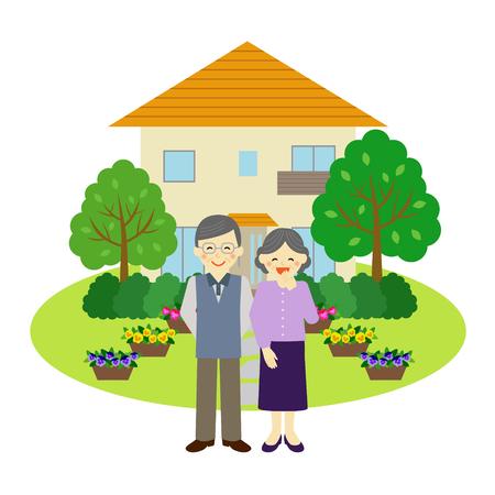 vecchiaia: Casa e felice coppia senior Vettoriali