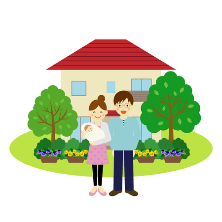 家、幸せな若いカップル