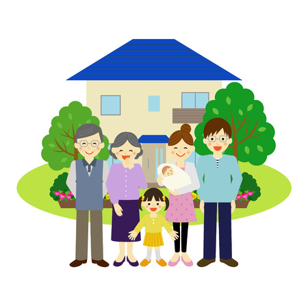mom and daughter: House and happy family Illustration