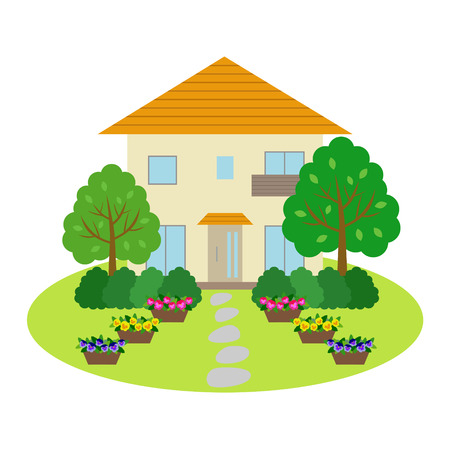 modern house exterior: House with front yard Illustration