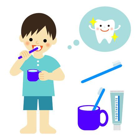 歯を磨く少年  イラスト・ベクター素材