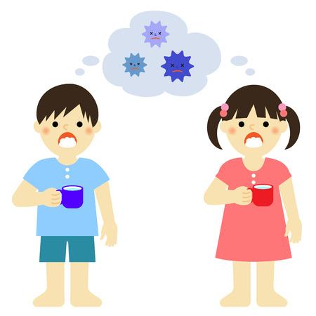 flu prevention: kids gargling to prevent cold