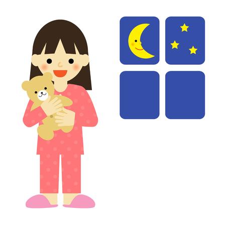 Niña en pijama abrazando un osito de peluche Foto de archivo - 45916926