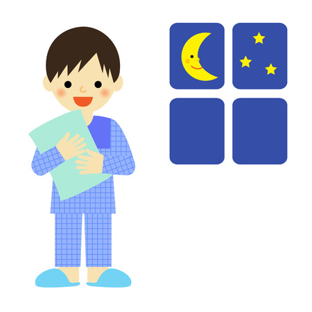 asian cartoon: Boy in pajamas holding a pillow Illustration
