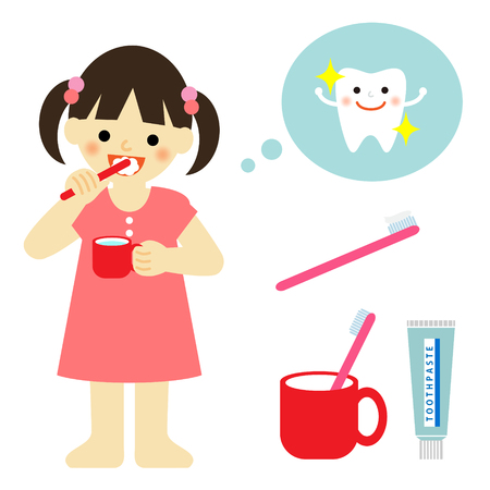 little girl brushing teeth Stock Illustratie