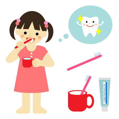 pasta dental: niña cepillarse los dientes Vectores