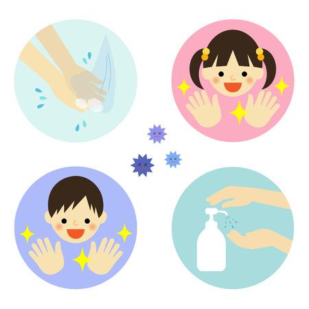 aseo: El lavado de manos con agua y alcohol para los ni�os