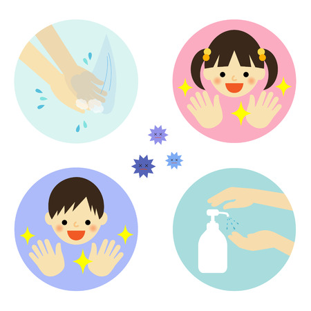 hand illustration: Hand washing with water and alcohol for kids Illustration