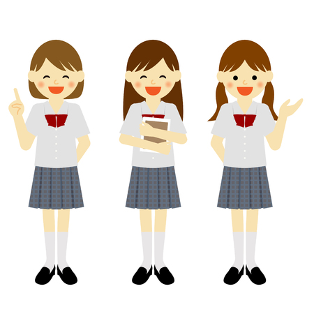 asian friends: Uniformed school girls in various poses